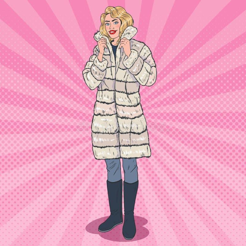 PNF Art Beautiful Woman Posing no casaco de pele morno Menina na roupa do inverno ilustração stock