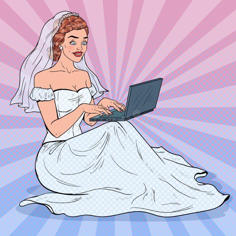 PNF Art Bride com portátil Mulher feliz no vestido de casamento que compra em linha ilustração do vetor