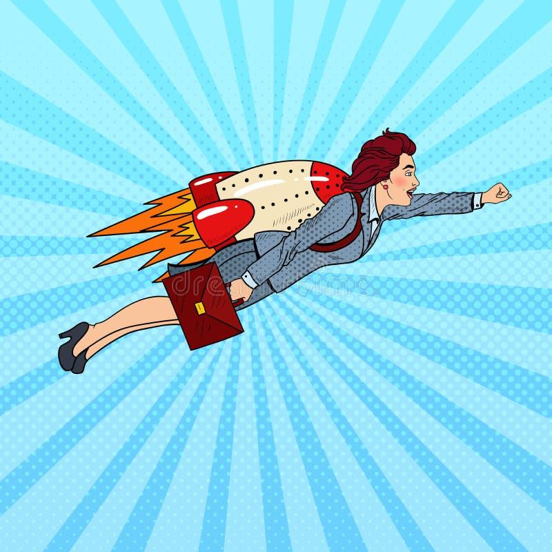 PNF Art Business Woman Flying em Rocket Criativo comece acima ilustração do vetor