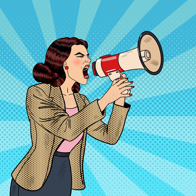 PNF Art Business Woman Shouting no megafone ilustração royalty free