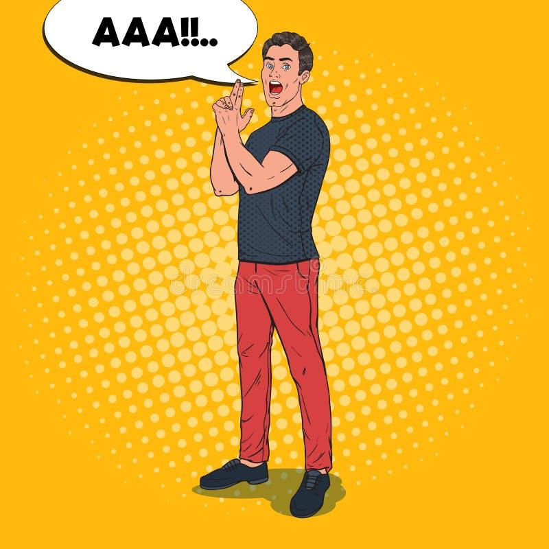 PNF Art Confident Man Posing com gesto da arma do dedo Indivíduo alegre ilustração stock