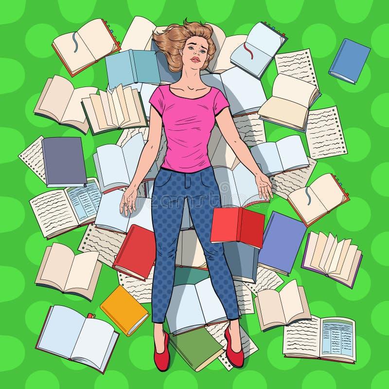 PNF Art Exhausted Student Lying no assoalho entre livros Jovem mulher sobrecarregado que prepara-se para exames Conceito da instr ilustração stock