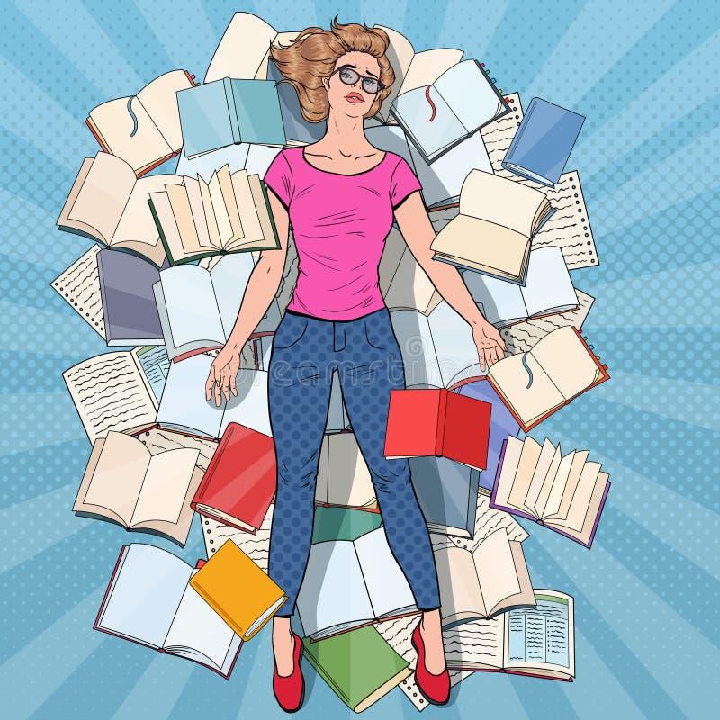 PNF Art Exhausted Student Lying no assoalho entre livros Jovem mulher sobrecarregado que prepara-se para exames Educação ilustração royalty free