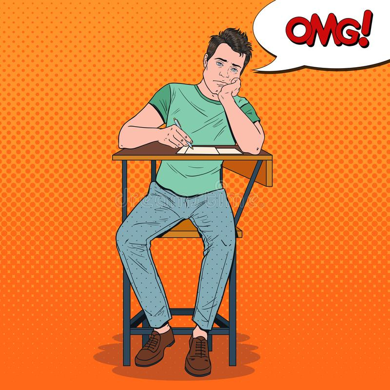 PNF Art Exhausted Student Sitting na mesa durante leitura aborrecida da universidade Homem considerável cansado na faculdade Educ ilustração royalty free
