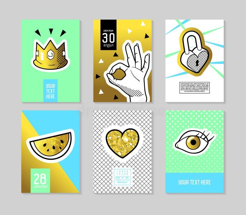 PNF Art Fashionable Posters Set As bandeiras na moda da forma 80s-90s com crachás e os remendos para cartazes, tampas projetam ilustração royalty free