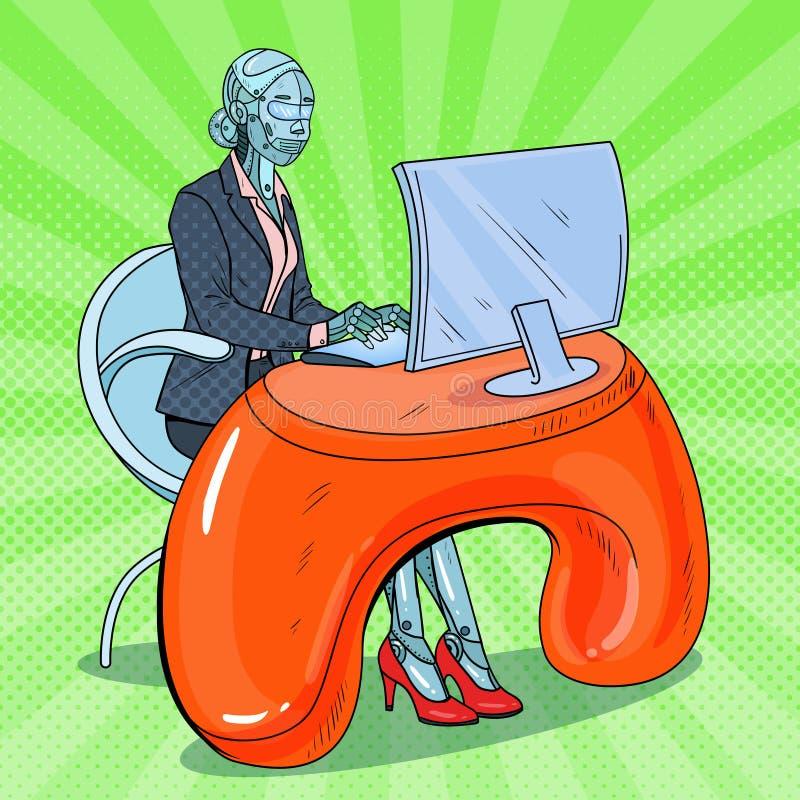 PNF Art Futuristic Robotic Woman Working com computador tecnologia da inteligência Trabalhador de escritório do robô ilustração royalty free