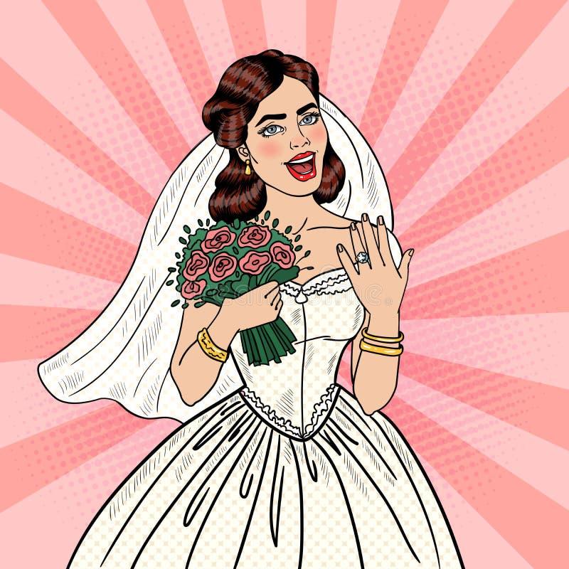 PNF Art Happy Bride com o ramalhete das flores que mostra a aliança de casamento ilustração do vetor