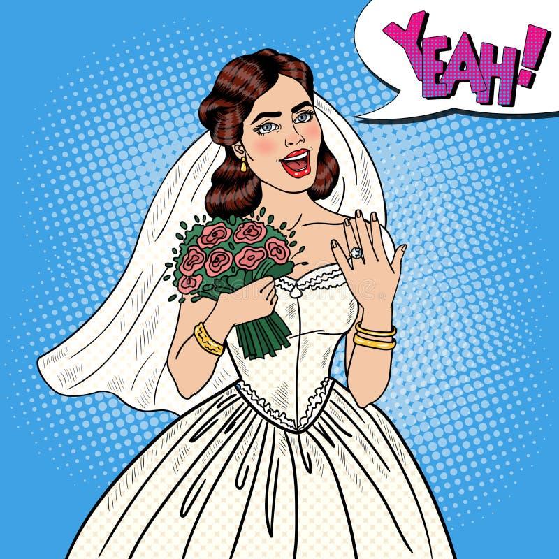PNF Art Happy Bride com o ramalhete das flores que mostra a aliança de casamento ilustração royalty free