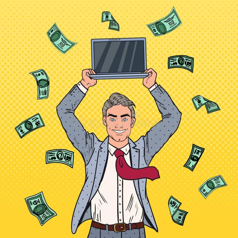 PNF Art Happy Businessman com portátil e queda para baixo dinheiro Sucesso de negócio ilustração royalty free