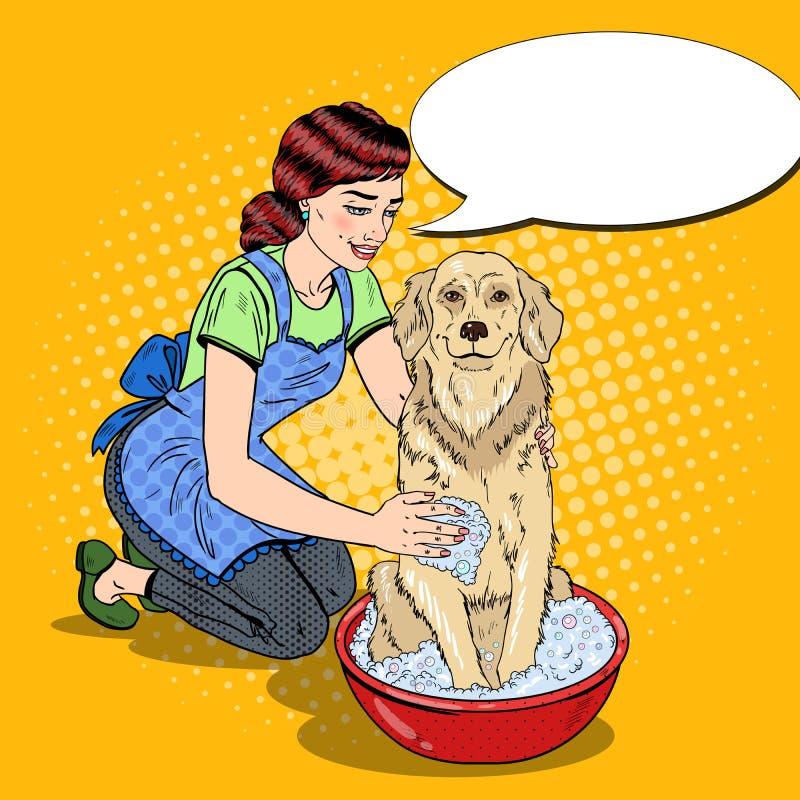 PNF Art Happy Woman Washing Labrador ilustração stock