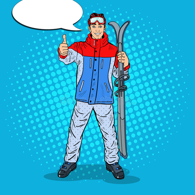 PNF Art Happy Young Man em Ski Holidays Gesturing Thumb Up ilustração do vetor