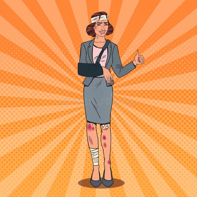 PNF Art Injured Business Woman Smiling Escritório enfaixado ilustração do vetor