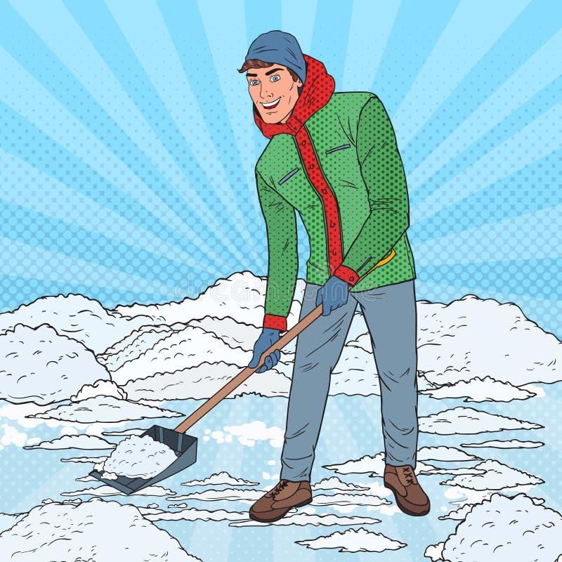 PNF Art Man Clearing Snow com pá Queda de neve do inverno ilustração stock