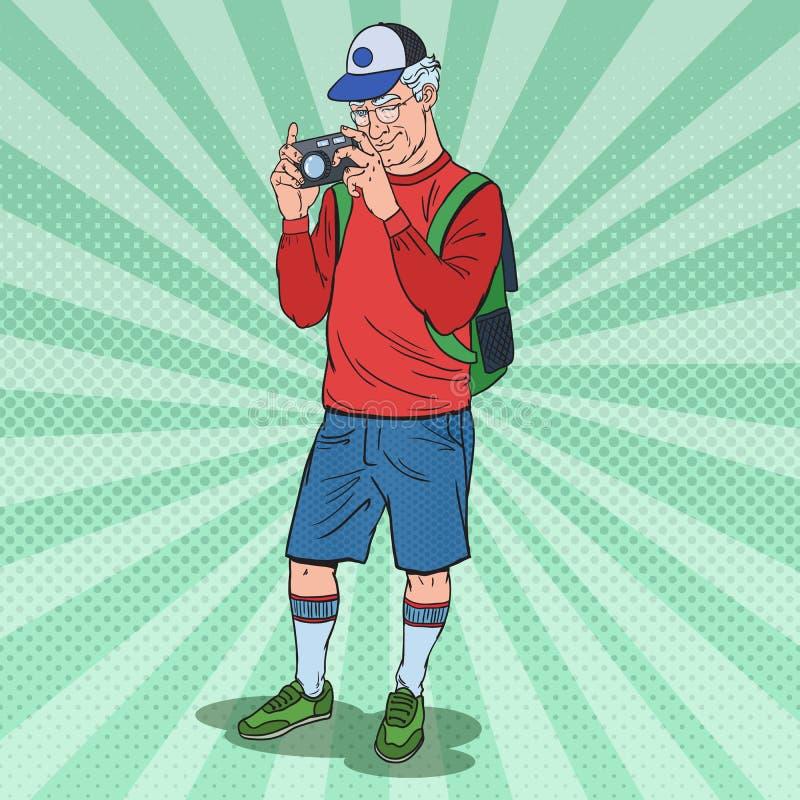 PNF Art Mature Man Taking Picture com câmera da foto Turista sênior ilustração royalty free