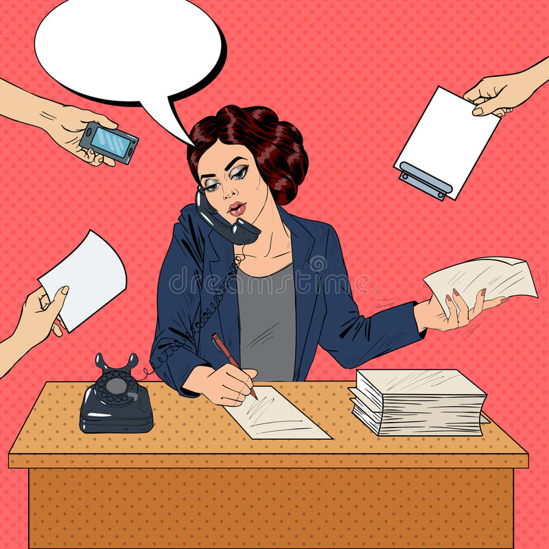 PNF Art Multitasking Busy Business Woman no trabalho de escritório ilustração stock
