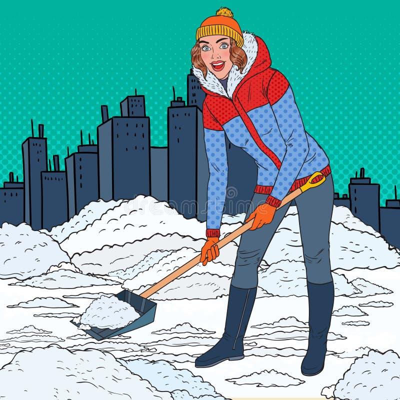PNF Art Pretty Woman Clearing Snow com pá Queda de neve do inverno na cidade ilustração royalty free