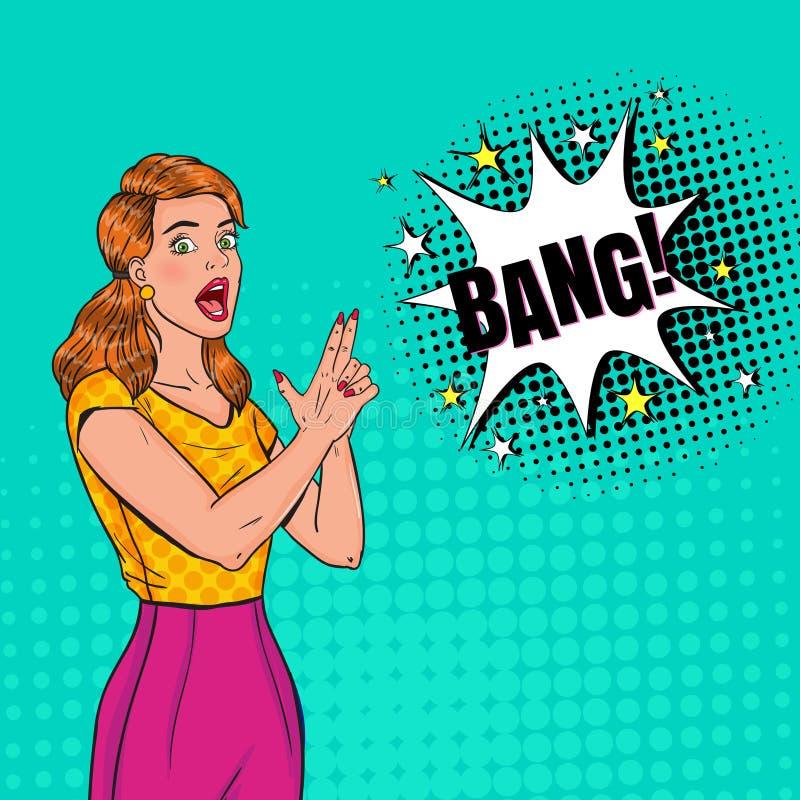 PNF Art Pretty Woman Posing com arma do dedo Cartaz alegre do vintage da menina com bolha cômica do discurso ilustração stock