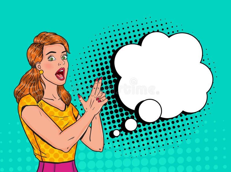 PNF Art Pretty Woman Posing com arma do dedo Cartaz alegre do vintage da menina com bolha cômica do discurso Pin Up Advertising ilustração royalty free