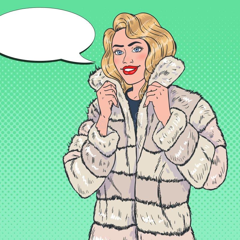 PNF Art Pretty Woman Posing no casaco de pele morno Menina na roupa do inverno ilustração do vetor