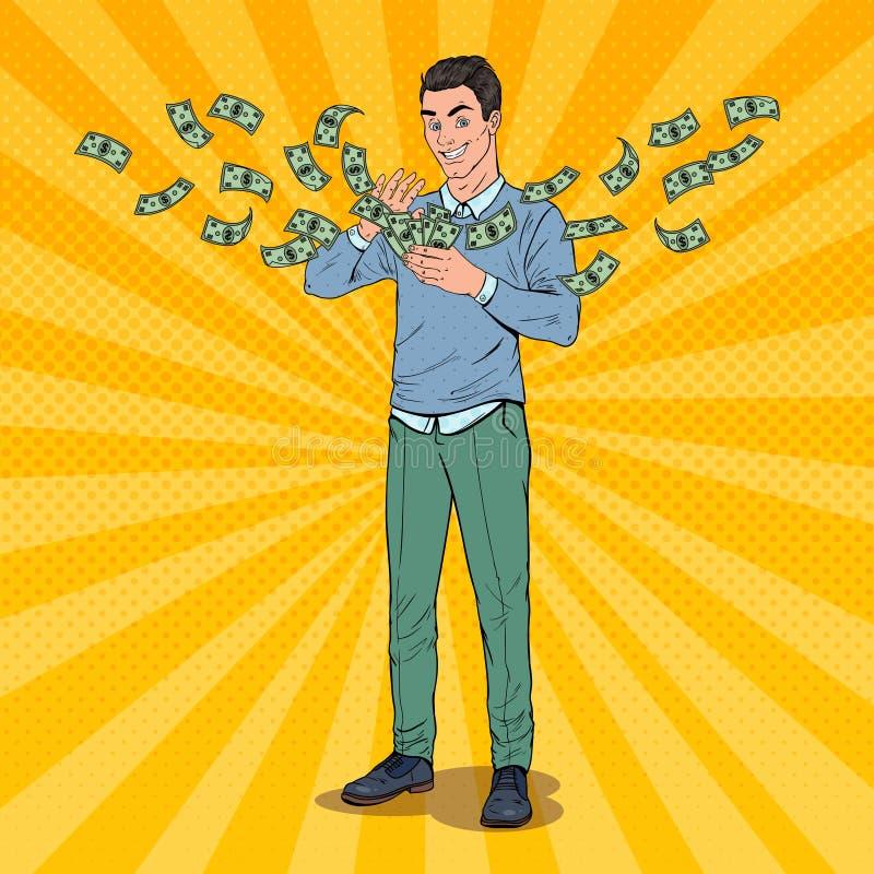 PNF Art Rich Man Throwing Dollar Banknotes Homem de negócios bem sucedido com dinheiro ilustração stock