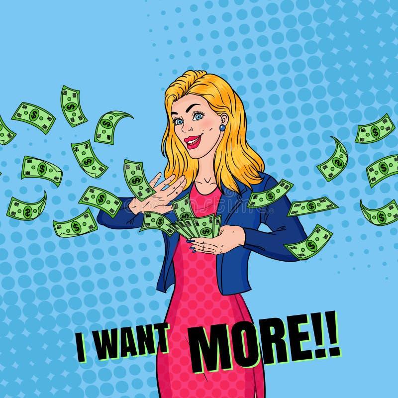 PNF Art Rich Woman Throwing Dollar Banknotes ilustração royalty free