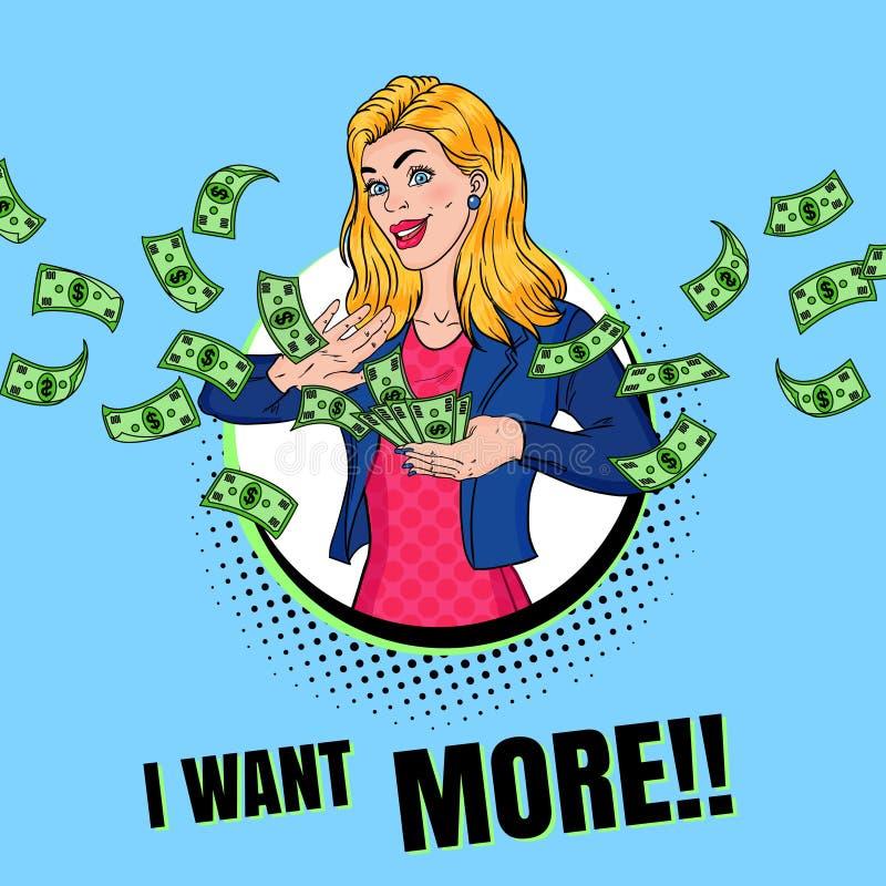 PNF Art Rich Woman Throwing Dollar Banknotes ilustração stock