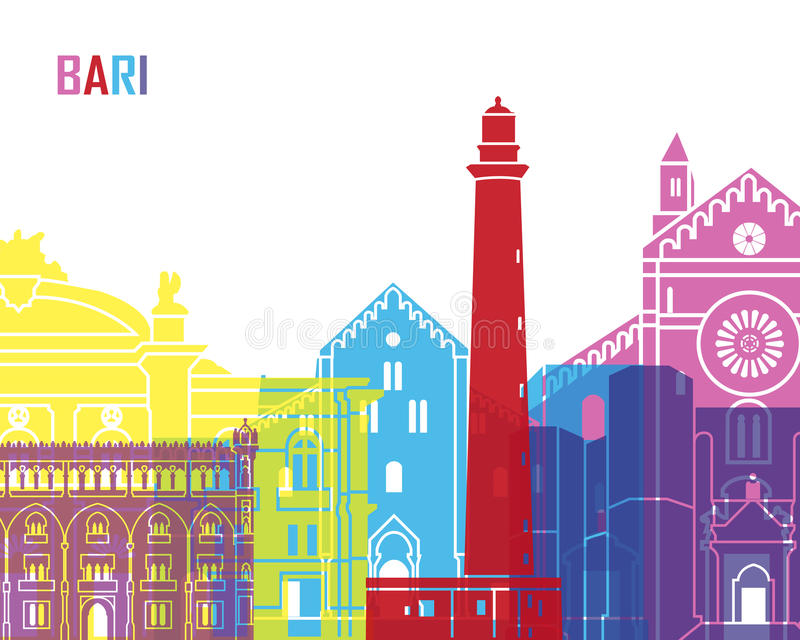 PNF da skyline de Bari ilustração royalty free