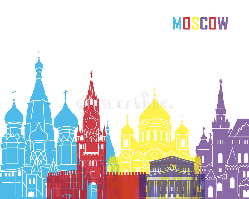 PNF da skyline de Moscou ilustração royalty free
