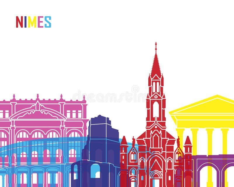 PNF da skyline de Nimes ilustração do vetor