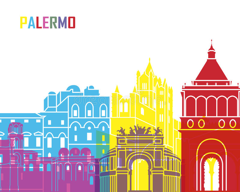 PNF da skyline de Palermo ilustração stock