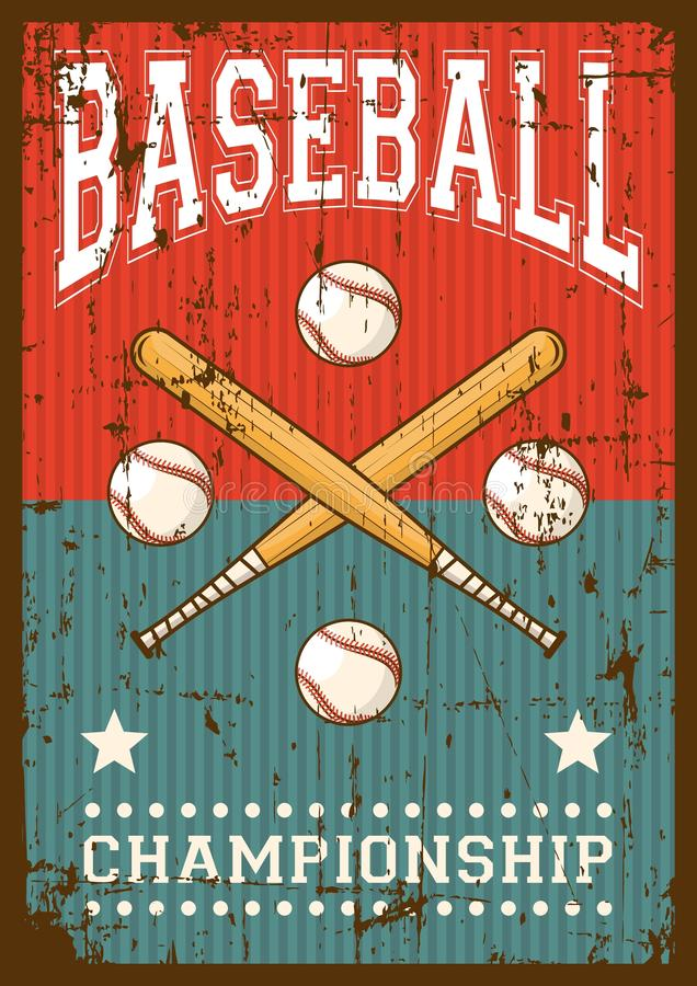 PNF retro Art Poster Signage do esporte do basebol ilustração do vetor