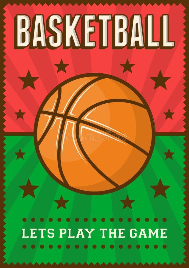 PNF retro Art Poster Signage do esporte do basquetebol ilustração stock