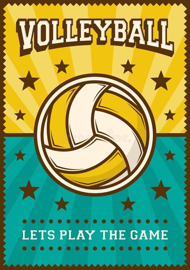 PNF retro Art Poster Signage do esporte do voleibol da bola da salva ilustração do vetor