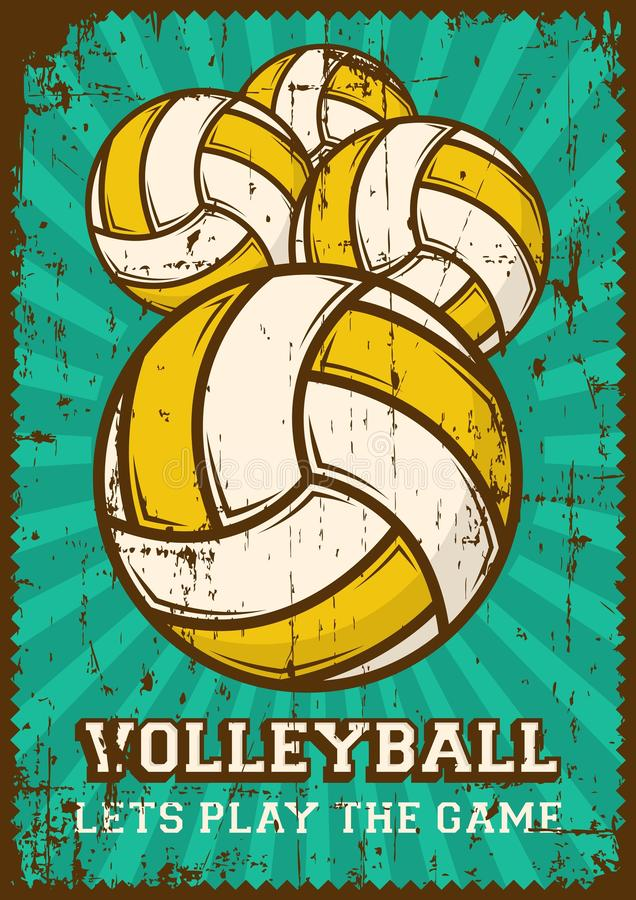 PNF retro Art Poster Signage do esporte do voleibol da bola da salva ilustração royalty free