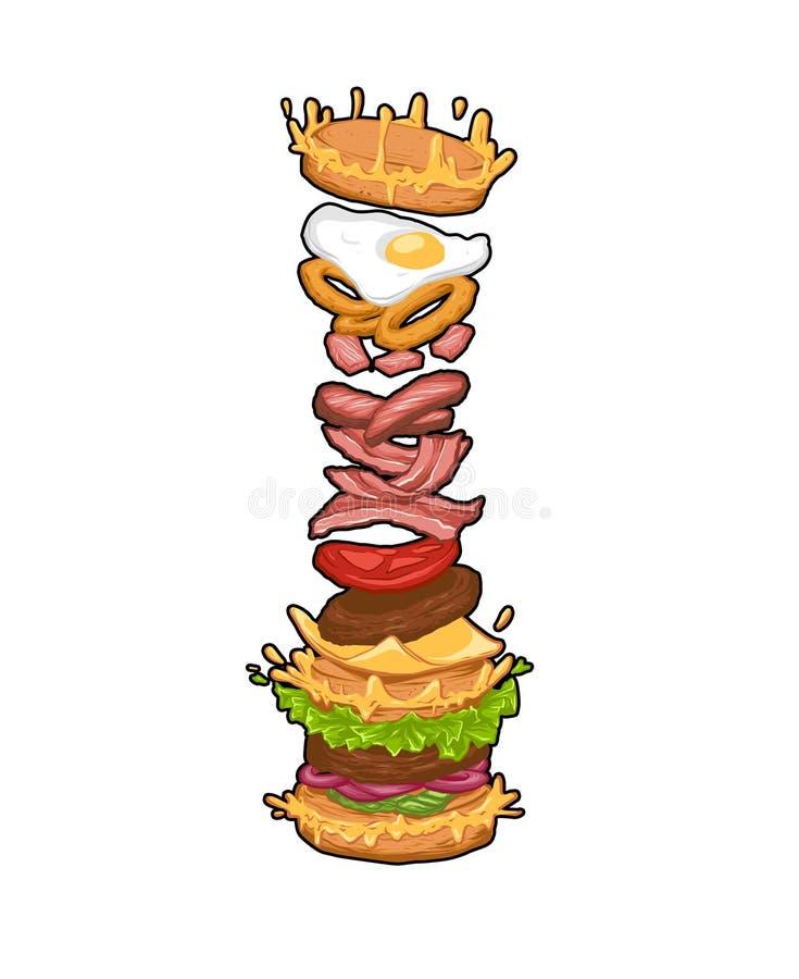 Png del ejemplo del arte de la hamburguesa de la pila que cae ilustración del vector
