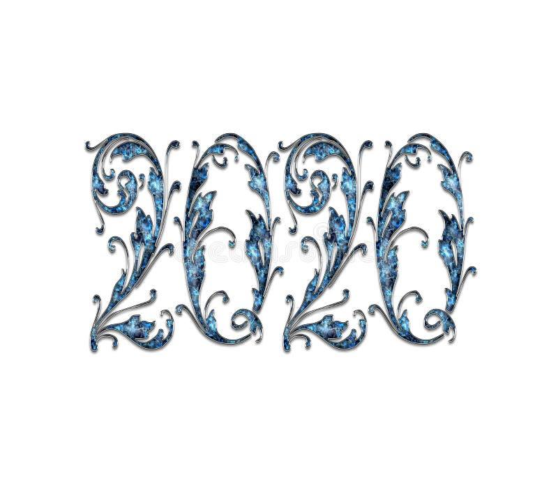 Png 2020 do efeito do texto do ano novo feliz imagens de stock royalty free