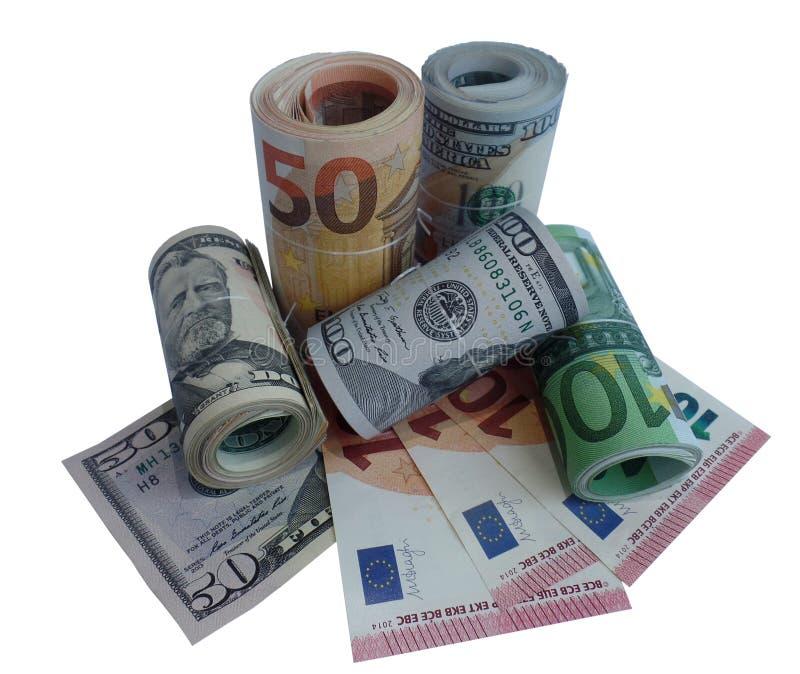 Png euro del dinero de los billetes de banco del dólar fotografía de archivo