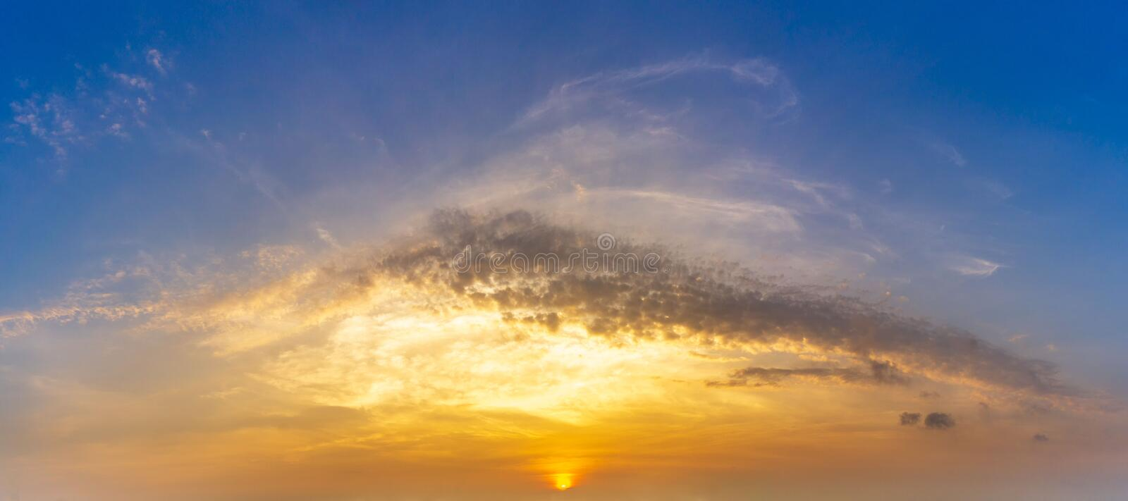 Pnorama morning golden hour sky and cloud with sunrise nature background. Pnorama picture of morning golden hour sky and cloud with sunrise nature background stock images