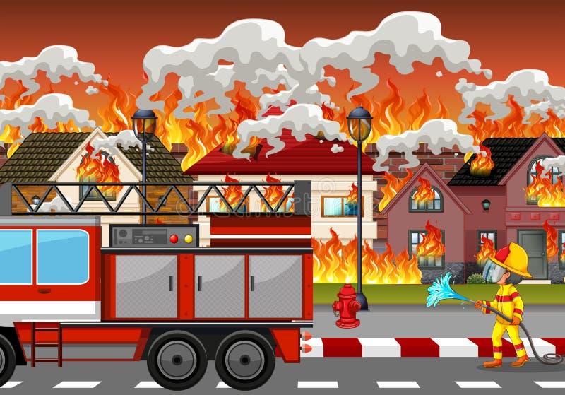 Pożarnicza katastrofa przy wioską ilustracja wektor