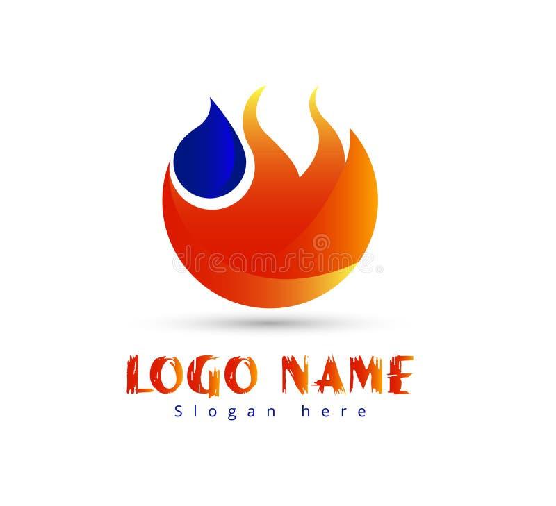 Pożarniczy płomień z wody kropli logo wektoru szablonem royalty ilustracja