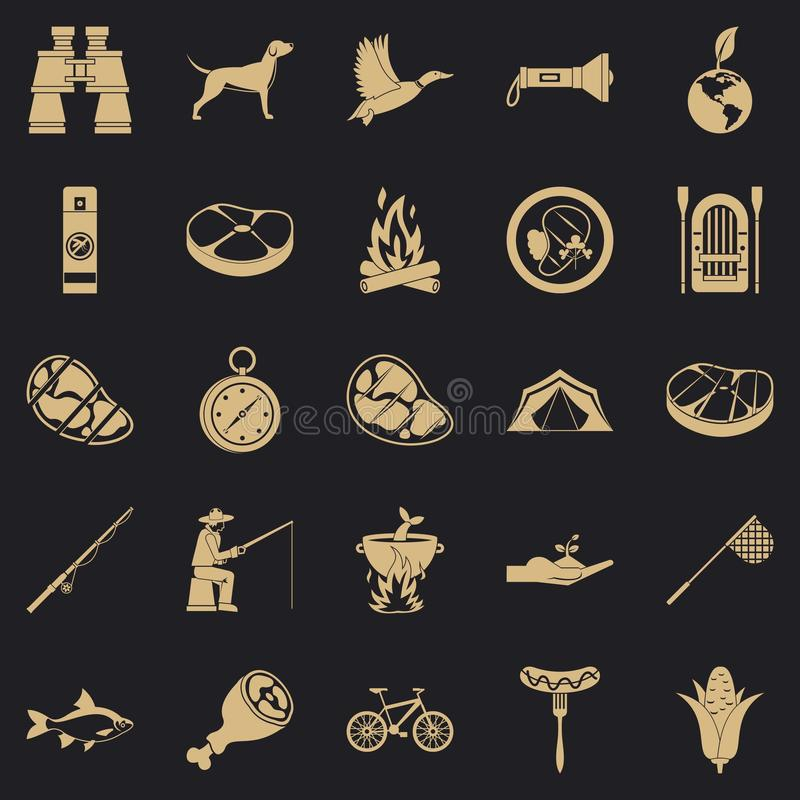 Połowów wakacji ikony ustawiać, prosty styl royalty ilustracja