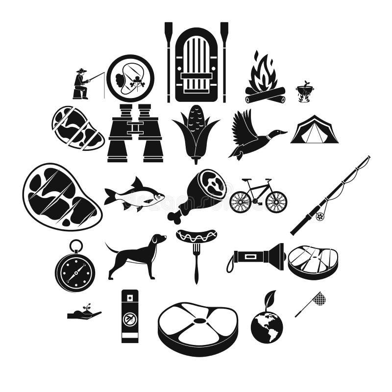 Połowów wakacji ikony ustawiać, prosty styl ilustracja wektor