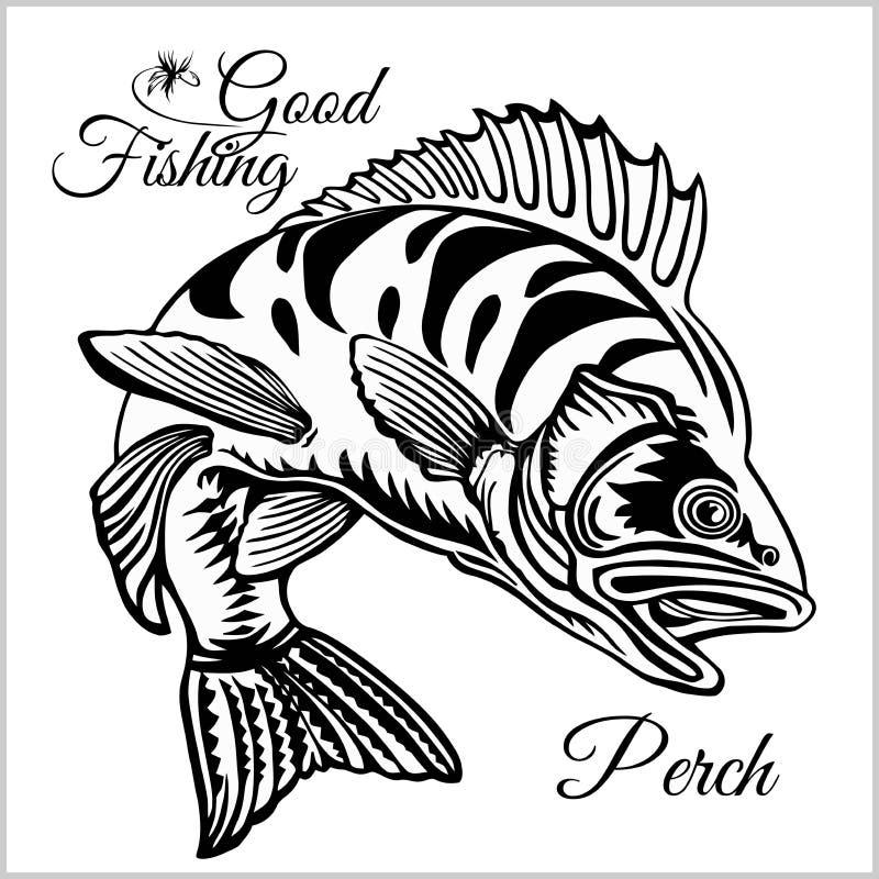 Połowu logo Bas ryby klubu emblemat Połowu tematu wektoru ilustracja Odizolowywający na bielu ilustracji