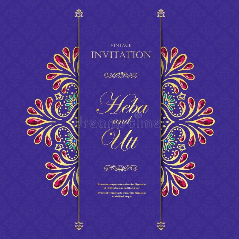 Poślubiać lub zaproszenia rocznika karciany styl z kryształu abstarct deseniuje tło, elementu eps10 ilustracja, hindus, obraz stock