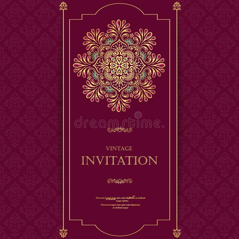 Poślubiać lub zaproszenia rocznika karciany styl z kryształu abstarct deseniuje tło, elementu eps10 ilustracja, hindus, zdjęcia stock