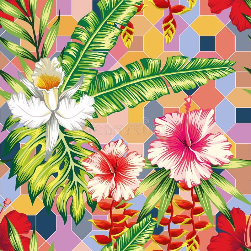 Poślubników liści palmowego storczykowego pozytywnego energetycznego koloru bezszwowy geometrical tło ilustracji