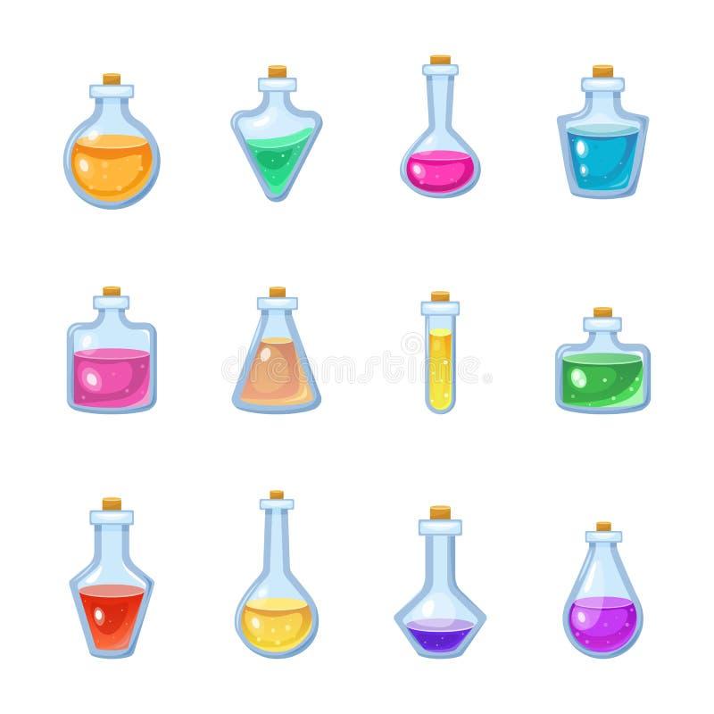 Poção mágica do jogo do vetor mágico da garrafa na bebida de vidro ou líquida do veneno do grupo da alquimia ou da ilustração da  ilustração royalty free