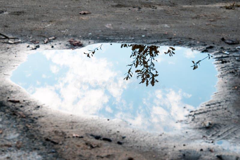 Poça da água no fundo à terra imagens de stock royalty free