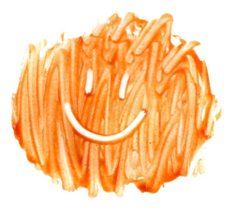 Poça manchada do tomate que veste a textura ou o ponto da ketchup fotos de stock