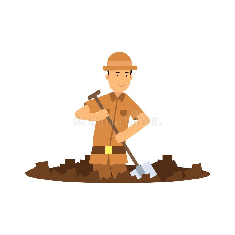 Poço de escavação do caráter do arqueólogo do menino com pá ilustração royalty free